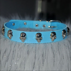 Skull Studded Leather Choker - LIGHT BLUE